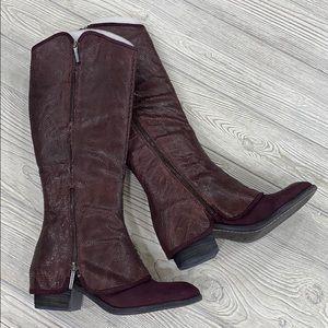 Donald Pliner Burgundy Devi Western Boots - sz 7.5